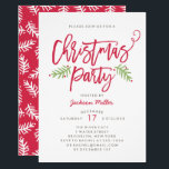 """Modern Brush Script Christmas Holiday Party Invitation<br><div class=""""desc"""">Make a stunning statement this holiday season with this stylish holiday Christmas party invitation a modern brush script and hand drawn foliage. Select a die-cut shape or textured paper for an extra special touch. Shop our online store for more pieces in this design!</div>"""