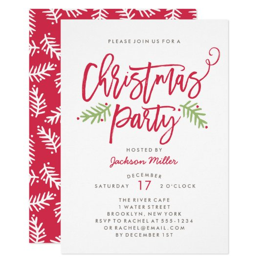 Modern Brush Script Christmas Holiday Party Invitation ...