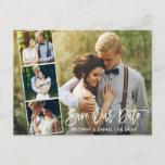 "Modern Brush Script Couple 4 Photo Save Our Date Postcard<br><div class=""desc"">Modern Brush Script Save Our Date Engagement Couple 4 Photo Postcard - White Script</div>"
