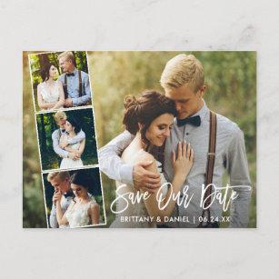 Modern Brush Script Couple 4 Photo Save Our Date Postcard
