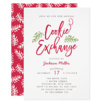 Modern Brush Script Holiday Cookie Exchange Party Invitation