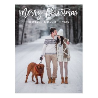 Couples Christmas Modern Brush Script Merry Christmas Photo Postcard