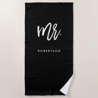Modern Brush Script | Mr | Editable Color Beach Towel