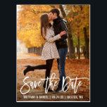 "Modern Brush Script Photo Save The Date Postcard<br><div class=""desc"">Modern Brush Script Save The Date Engagement Couple Photo Postcard</div>"