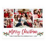 Modern Brush Script Red 5 Photo Family Christmas Postcard