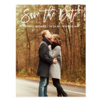 Modern Brush Script Save The Date Couple Photo Postcard