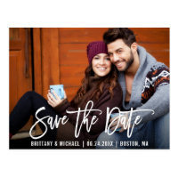 Modern Brush Script Save The Date Photo Postcard