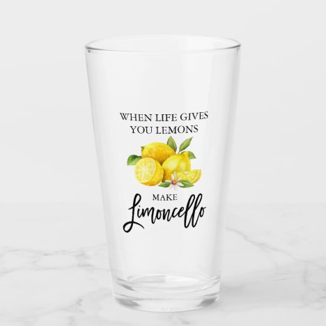 Modern Brush Script Watercolor Lemons Limoncello Glass