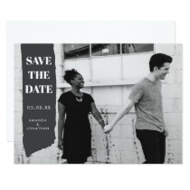 Modern Brush Stroke Photo Save the Date Card