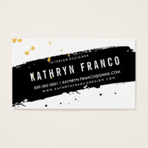 MODERN BRUSH STROKE stylish black gold splatter Business Card