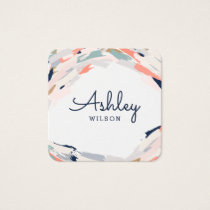 Modern Brush Strokes Square Business Card