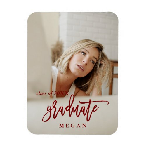 Modern Brush Type Graduation Announcement Red Magnet
