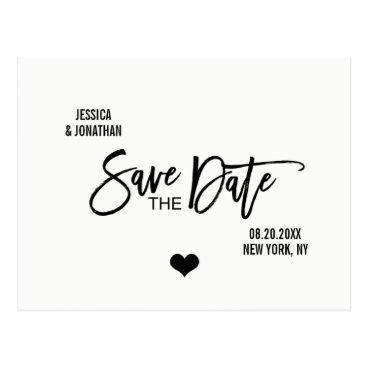 Wedding Themed Modern Brush White Black Wedding SAVE THE DATE Postcard