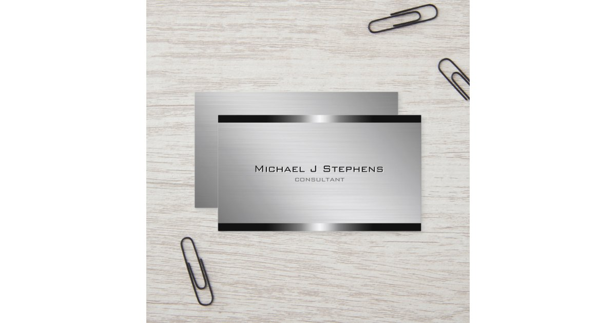 Modern Brushed Aluminum with Gunmetal Bands Business Card   Zazzle.com