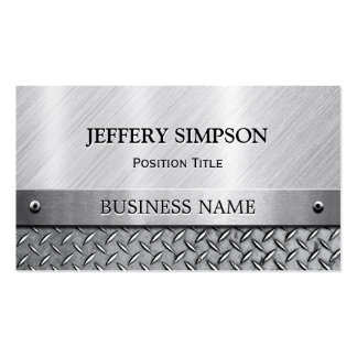 Modern Brushed Metal Look - Fully Customizable Double-Sided Standard Business Cards (Pack Of 100)