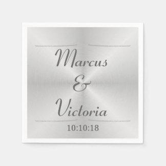 Modern Brushed Metal Wedding Paper Napkin