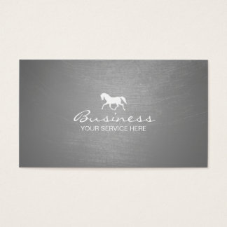Modern Brushed Silver Texture Equine Business Card
