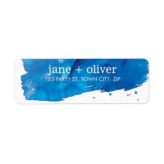 MODERN BRUSHSTROKE LABEL artistic watercolor blue