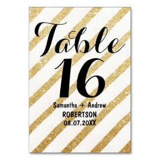 Modern brushstrokes gold stripes table number card