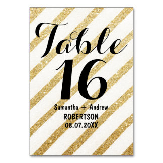 Modern brushstrokes gold stripes table number table card
