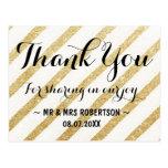Modern brushstrokes gold stripes thank you postcard