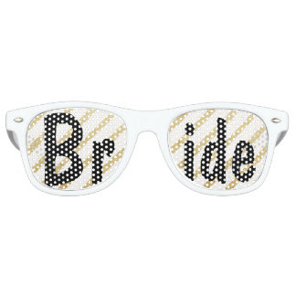 Modern brushstrokes gold stripes wedding Bride Wayfarer Sunglasses