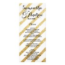 Modern brushstrokes gold stripes wedding menu