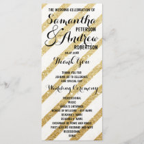 Modern brushstrokes gold stripes Wedding Program