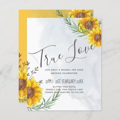 Modern BUDGET Sunflower Yellow Wedding Invite