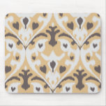 Modern buff beige brown ikat tribal pattern mousepads