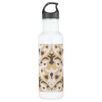 Modern buff beige brown ikat tribal pattern water bottle