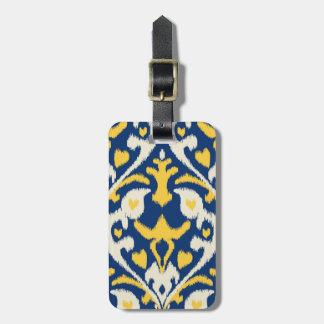 Modern buff yellow blue ikat tribal pattern luggage tags