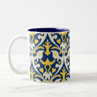 Modern buff yellow blue ikat tribal pattern Two-Tone coffee mug
