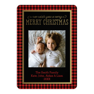 Modern Buffalo Plaid Photo Christmas Card
