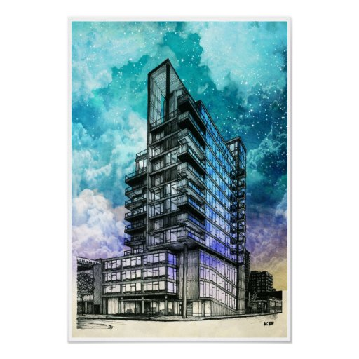 modern building architectural drawing poster zazzle