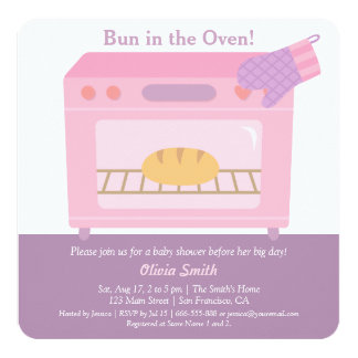 Modern Bun in the Oven Baby Shower Invitations