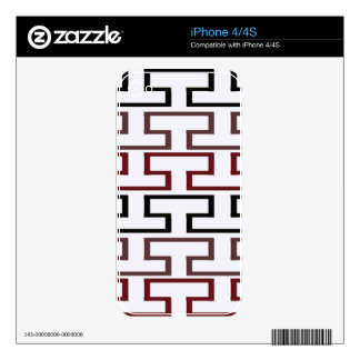 Modern Burgundy Black and Brown Bricks Decal For The iPhone 4S