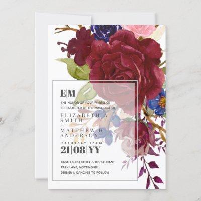 Modern Burgundy Blue Roses Floral Overlay Wedding