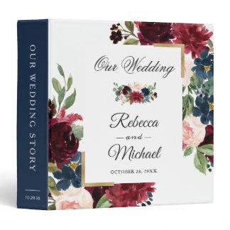 Modern Burgundy Blush Floral Wedding Albums 3 Ring Binder