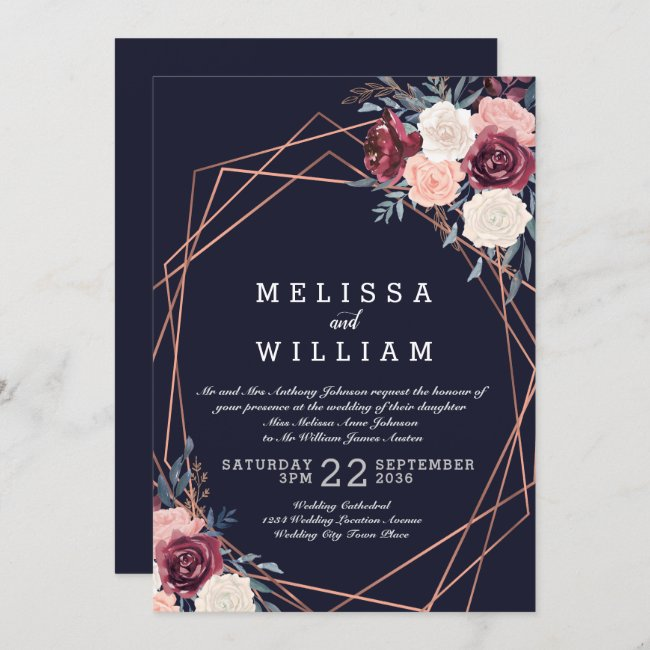 Modern Burgundy Floral Copper Navy Wedding Invitation
