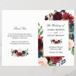 """Modern Burgundy Floral Folded Wedding Program<br><div class=""""desc"""">Create the perfect wedding program with this &quot;Burgundy Blush Blue Floral Modern Look&quot; template. This high-quality design is easy to customize to be uniquely yours! (1) Note that the cards arrive flat, and you&#39;ll need to Fold Down the Middle to convert them to folded papers. (2) For further customization, please...</div>"""
