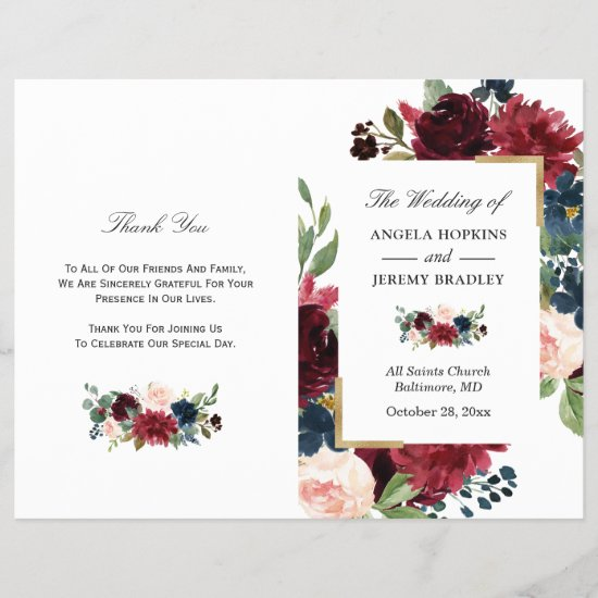 Modern Burgundy Floral Folded Wedding Program