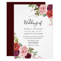 Modern Burgundy Flowers Elegant Wedding Invite