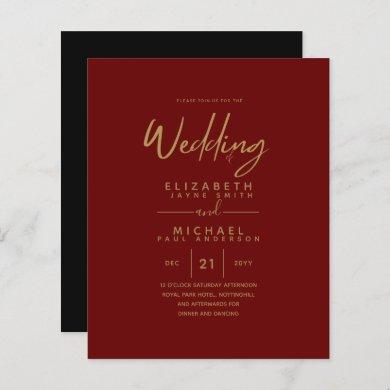 Modern Burgundy Gold Budget Wedding Invites