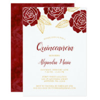 Modern Burgundy Gold Roses Quinceanera Invitations
