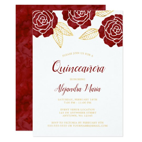modern burgundy gold roses quinceanera invitations zazzle com