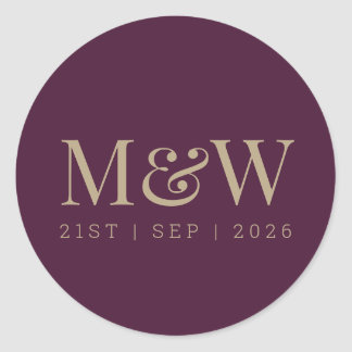 Modern Burgundy Plum Wine Bride Groom Monogram Classic Round Sticker