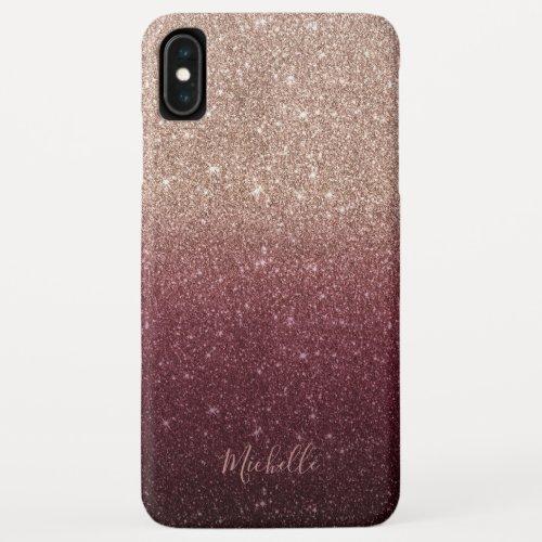 Modern Burgundy & Rose Gold Glitter Ombre Phone Case