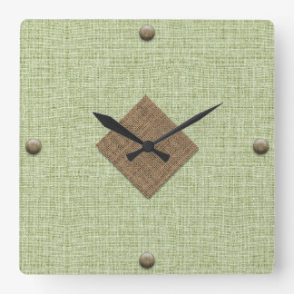 Modern Burlap in Mint and Brown with Wood Buttons Square Wall Clock