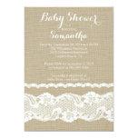 Modern Burlap & Lace Baby Shower Invitation
